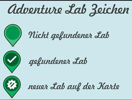 Zeichenerklärung für Adventure Labcaches