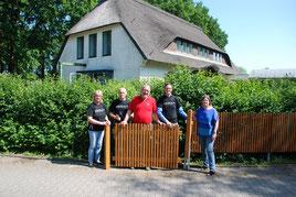 Foto: Dümmer-Museum, Von links nach rechts: Heike Berndt, Hans-Dieter Mattfeldt, Holger Reitmeyer (LWL), Lars Kaiser (innogy). Sabine Hacke (Museumsleiterin)