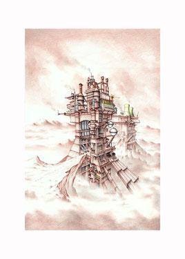 ballpoint pen drawings, fantasy art, fantasy drawings, drawings by Spanish artists, fantasy landscapes, promised land