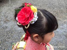 七五三髪飾り 成人式髪飾り 2分の1髪飾り 椿髪飾り  ツバキ髪飾り カメリア髪飾り
