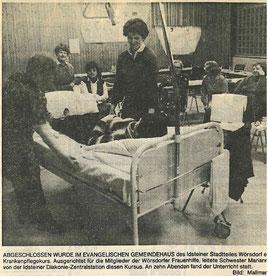 Bild vom Pflegekurs aus dem Jahr 1982