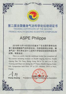 Certificat de stage en Qigong de Santé remis à Philippe Aspe en octobre 2018