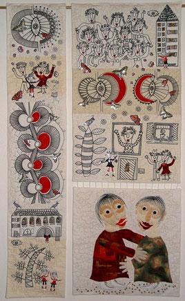 Jutta Kohlbeck / Dreiteiliger Quilt mit Applikationen und  folierten Zeichnungen für die Ausstellung: Poetische Dreiteiler organisiert von Dörte Bach (München)