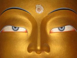 Großaufnahme des Buddhas von Thiksey. Foto: Lene Löwenherz
