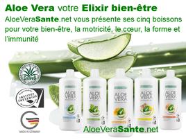 Aloe Vera Sante avec LR Health & Beauty | Aloé Vera Santé propose quatre 4 gels purs à boire, fabriqués en Allemagne. Tous contiennent entre 90 et 99 % de gel pur d'aloé vera (pulpe), du miel