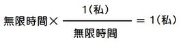 無限時間×無限時間分の1(私)=1(私)