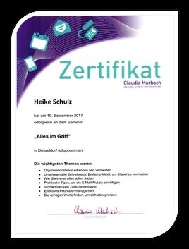 Teilnahme-Zertifikat von Claudia Marbach