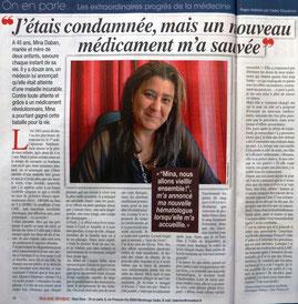 LMC France Magazine Nous Deux hebdomadaire leucemie myeloide chronique nouveau medicament espoir guerison itk glivec tasigna spycel bosulif iclusig