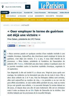 LMC France Le Parisien presse leucémie myeloide chronique guerison traitement