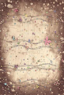 poppiness score  腐蝕銅版画  インク/ハーネミューレ・雁皮  29.5×20cm