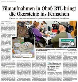 RTL berichtet über Okersteine. Artikel von Gesa Walkhoff