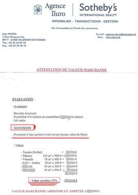 Expertise d'un cabinet d'immobilier indiquant la perte due au projet de carrières à Oloron Ste Marie
