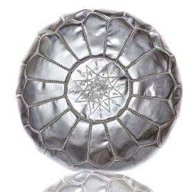 Almadih Leder Sitzkissen Siber leather pouffe silver