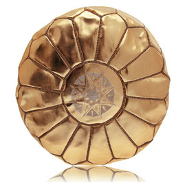 Almadih Leder Sitzkissen Bronze leather pouf bronze