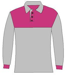 Polo manga larga rosa con gris