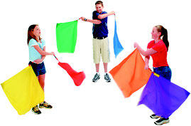 Drapeaux foulards lot de 6 pour gym rythmique des enfants. Lot de 6 drapeaux foulards à acheter pas cher. Facile à lancer cette balle poco balle.