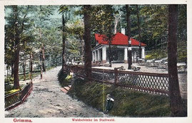 Grimma, Waldschänke im Stadtwald, Jahr undeutlich, alte gelaufene Ansichtskarte