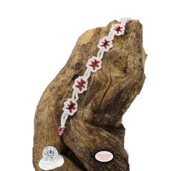 Bracelet au crochet collection Adronie, coton Oeko-Tex blanc et rocailles rouge foncé mat