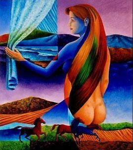 peinture femme, femme cheveux longs, peintures fantastiques galerie, femme nue assise de dos, fantastique peinture, femme nue assise, femme surréaliste, oeuvre surréaliste, femme peinture, peinture femme dos, paysage femme,  femme paysage,