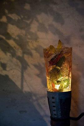 陶芸 陶芸家 仲本律子 笠間市 紅葉 灯り ランプ 葉っぱ
