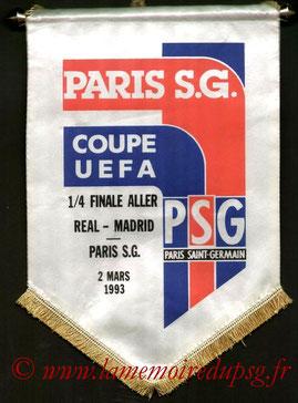 Fanion Officiel PSG-Real Madrid  1992-93