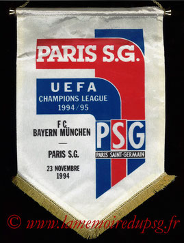 Fanion officiel  FC Bayern Munich-PSG  1994-95