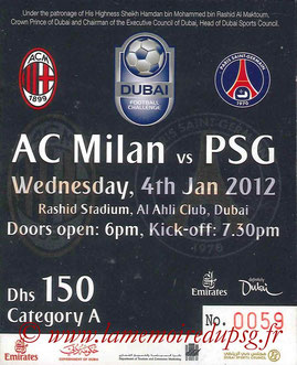 Ticket  Milan AC-PSG  2011-12