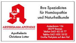 Arsterdamm Apotheke  Inh. Christiane Lutter  Arsterdamm 136  28279 Bremen
