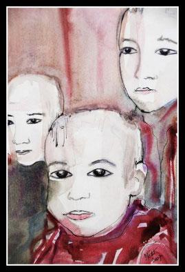 Jeunes bonzes, aquarelle encre de Chine.D.Petit
