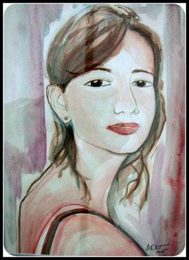 La fiancée, aquarelle. D.Petit