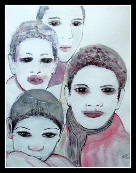 Cérémonie tribale, aquarelle encre de Chine. D.Petit