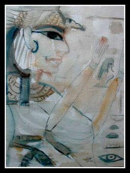 Reine égyptienne, aquarelle. D.Petit