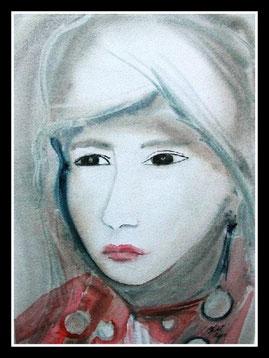 Femme de Mongolie, aquarelle.D.Petit
