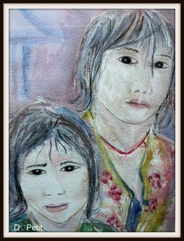 Les deux soeurs, aquarelle.D.Petit