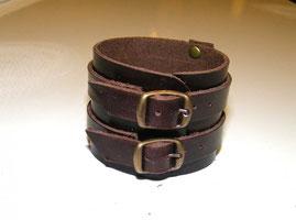 bracelet  homme en cuir marron, bracelet de force, fabriqué en France par artisan du cuir
