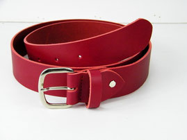 ceinture cuir rouge épais, large , made in France, artisanal