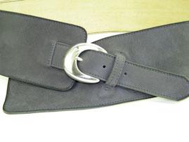 ceinture femme large en cuir gris,sur mesure, fabriqué en France, artisanal