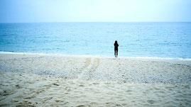 ウミガメの足跡の残る、永田いなか浜,西部林道ガイドツアー