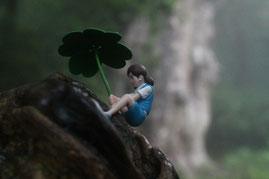 縄文杉を背景に、フチ子さん・・笑(縄文杉1泊ガイドツアー)