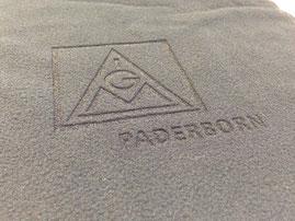 Logoansicht. Logogravur in Fleece. Schal mit Fleecegravur von biasto-laserdesign.de