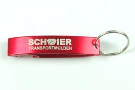 Schlüsselanhänger Kappselheber in rot mit Logogravur von biasto laserdesign