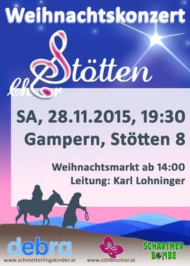 Plakat des 36. Benefizkonzert zugunsten der Schmetterlingskinder durch den Stöttenchor in Stötten, Gampern