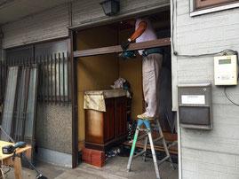 既存玄関引戸の解体
