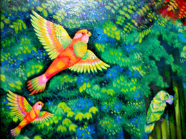 楽園の中で自由と希望を象徴する鳥達