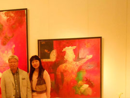 左から画家佐藤進先生 美術家立花雪
