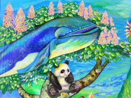 楽園の中で生きるクジラとパンダ