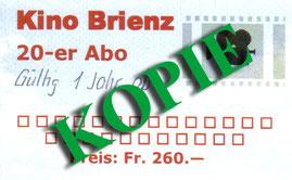 20er Abonnement (+5 gratis Eintritte) CHF 280.-