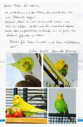 Danke an den vogelkundigen Tierarzt für Therapie Wellensittich - Häbich - Wien