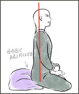 ひざが浮かないようにお尻に座布団を入れる