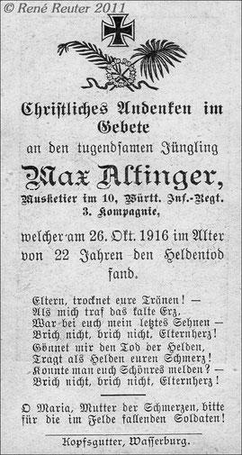 Sterbekarte 1916